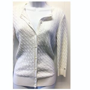 Tommy Hilfiger | White Ribbed Cardigan Fitted EUC